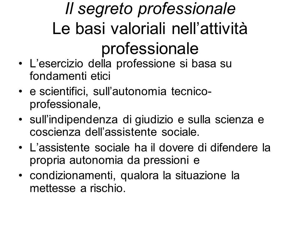 Il segreto professionale Le basi valoriali nell'attività professionale