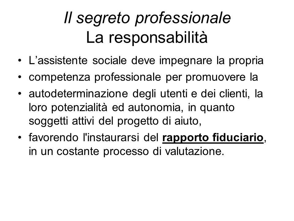Il segreto professionale La responsabilità