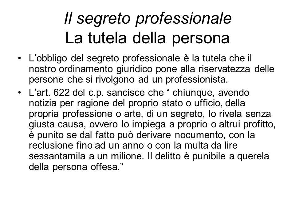 Il segreto professionale La tutela della persona