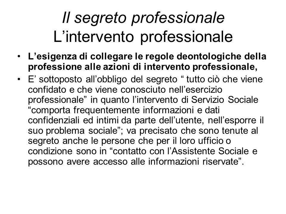 Il segreto professionale L'intervento professionale