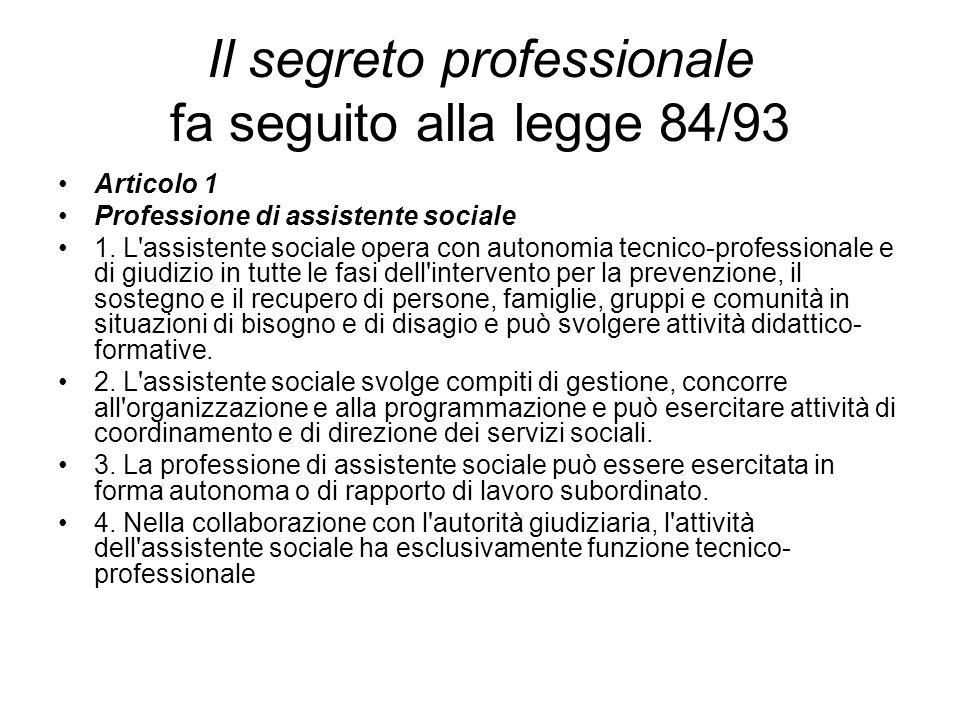 Il segreto professionale fa seguito alla legge 84/93