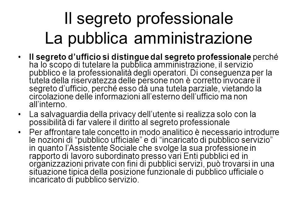 Il segreto professionale La pubblica amministrazione