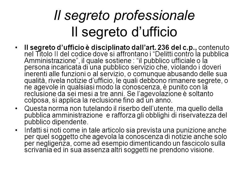 Il segreto professionale Il segreto d'ufficio