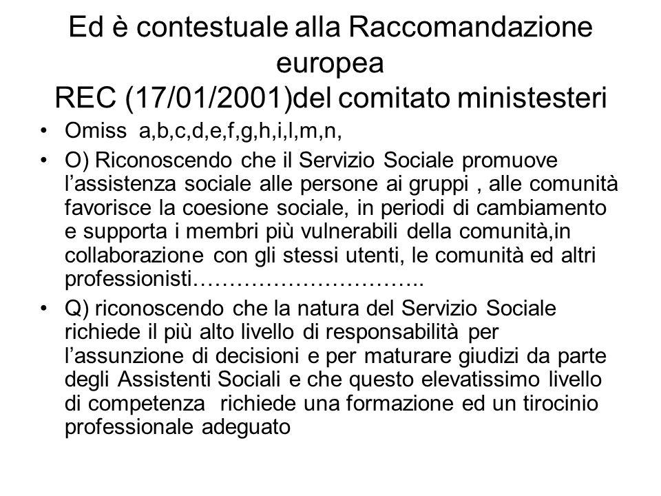 Ed è contestuale alla Raccomandazione europea REC (17/01/2001)del comitato ministesteri