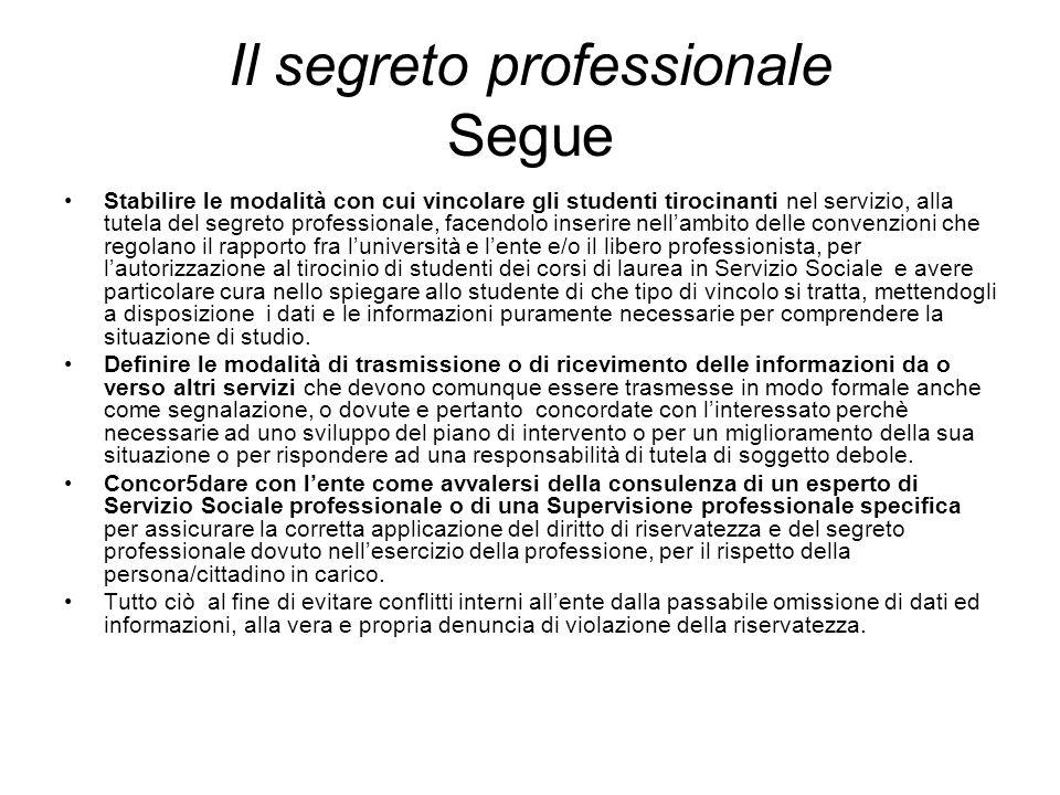 Il segreto professionale Segue