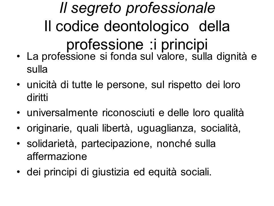 Il segreto professionale Il codice deontologico della professione :i principi