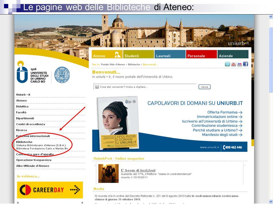 Le pagine web delle Biblioteche di Ateneo: