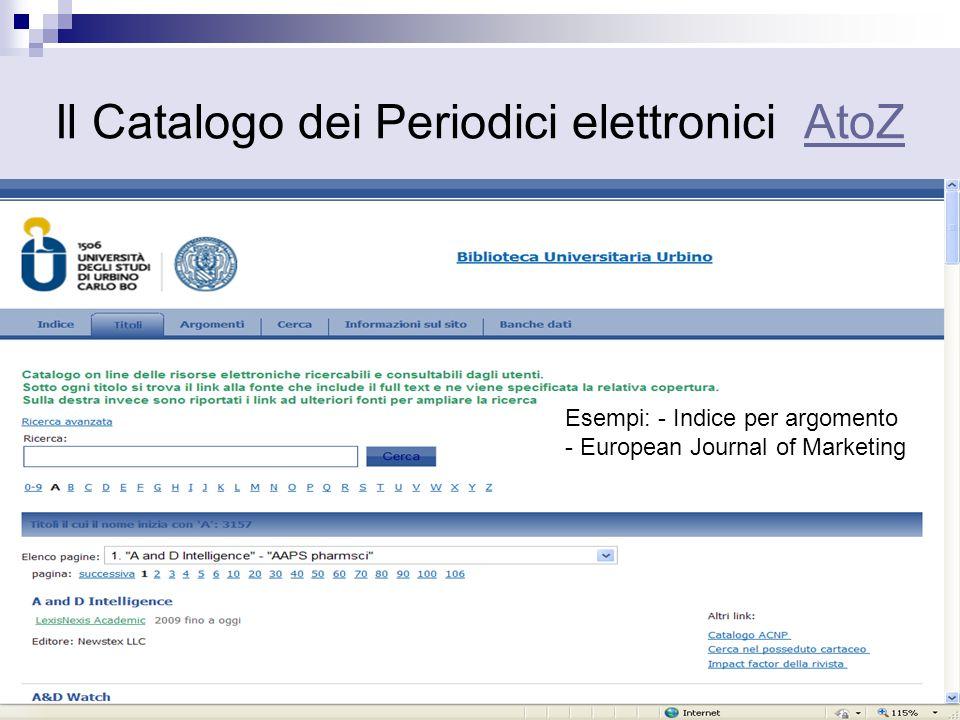 Il Catalogo dei Periodici elettronici AtoZ