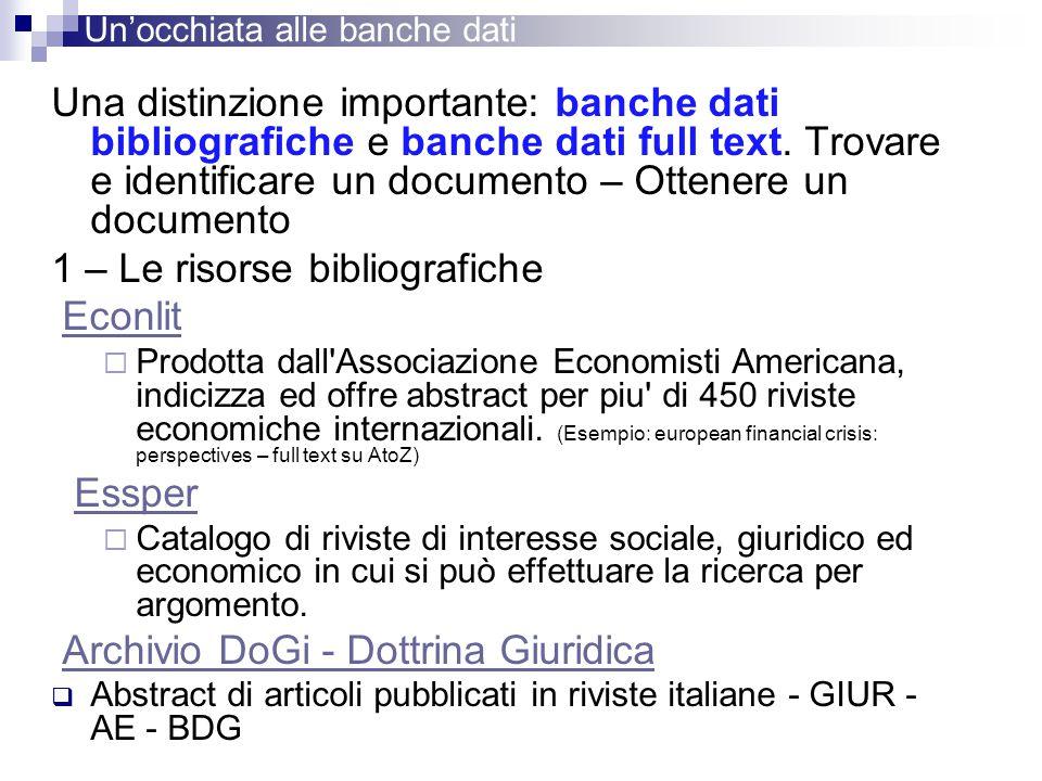 1 – Le risorse bibliografiche Econlit