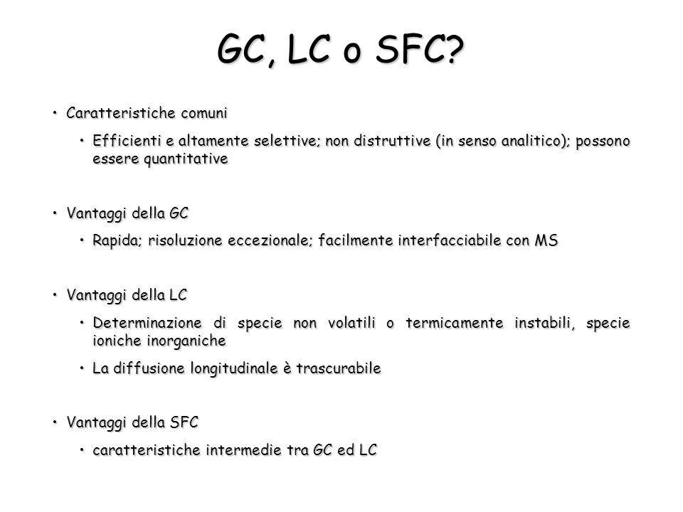 GC, LC o SFC Caratteristiche comuni