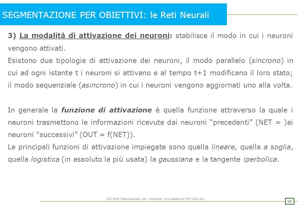 SEGMENTAZIONE PER OBIETTIVI: le Reti Neurali