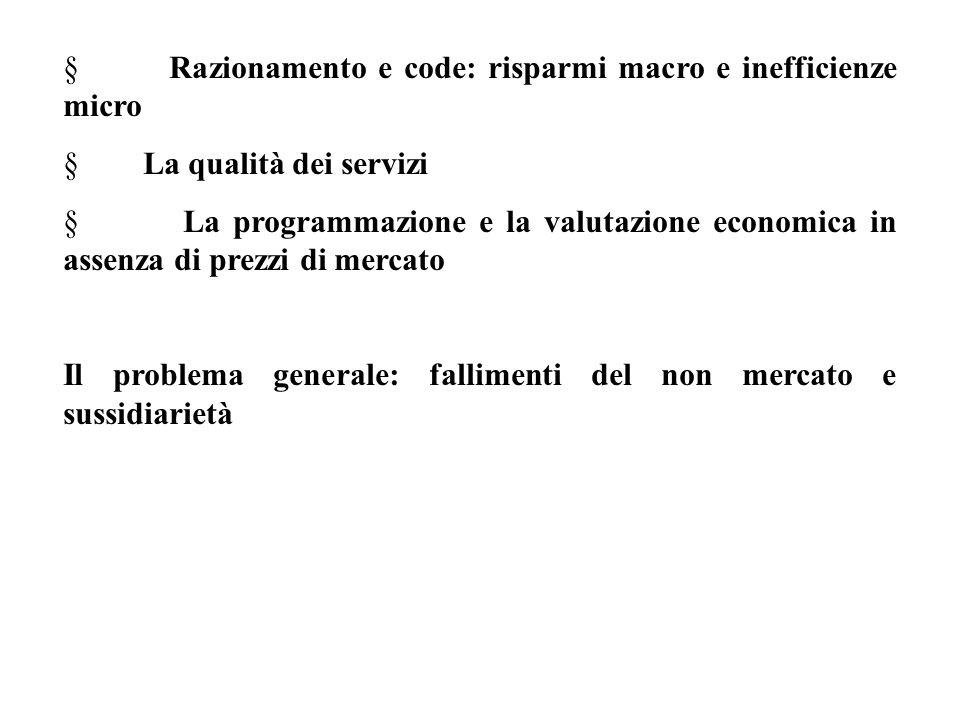 § Razionamento e code: risparmi macro e inefficienze micro