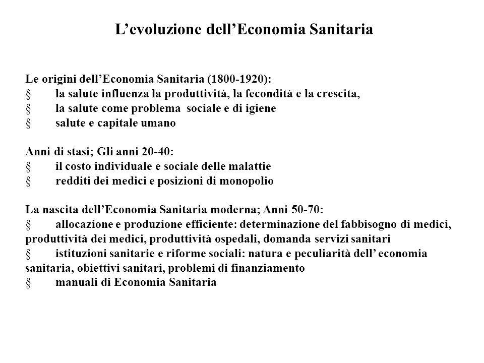 L'evoluzione dell'Economia Sanitaria