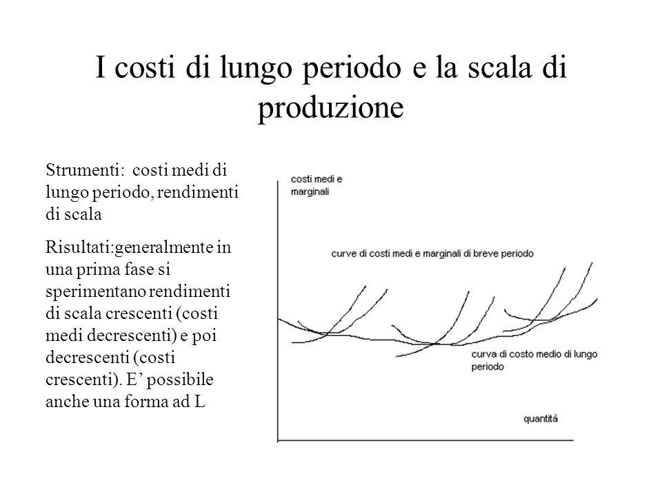 I costi di lungo periodo e la scala di produzione