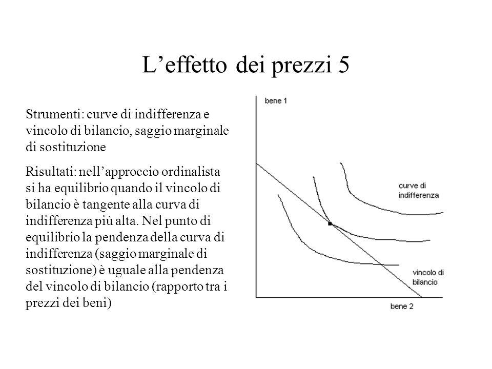 L'effetto dei prezzi 5 Strumenti: curve di indifferenza e vincolo di bilancio, saggio marginale di sostituzione.