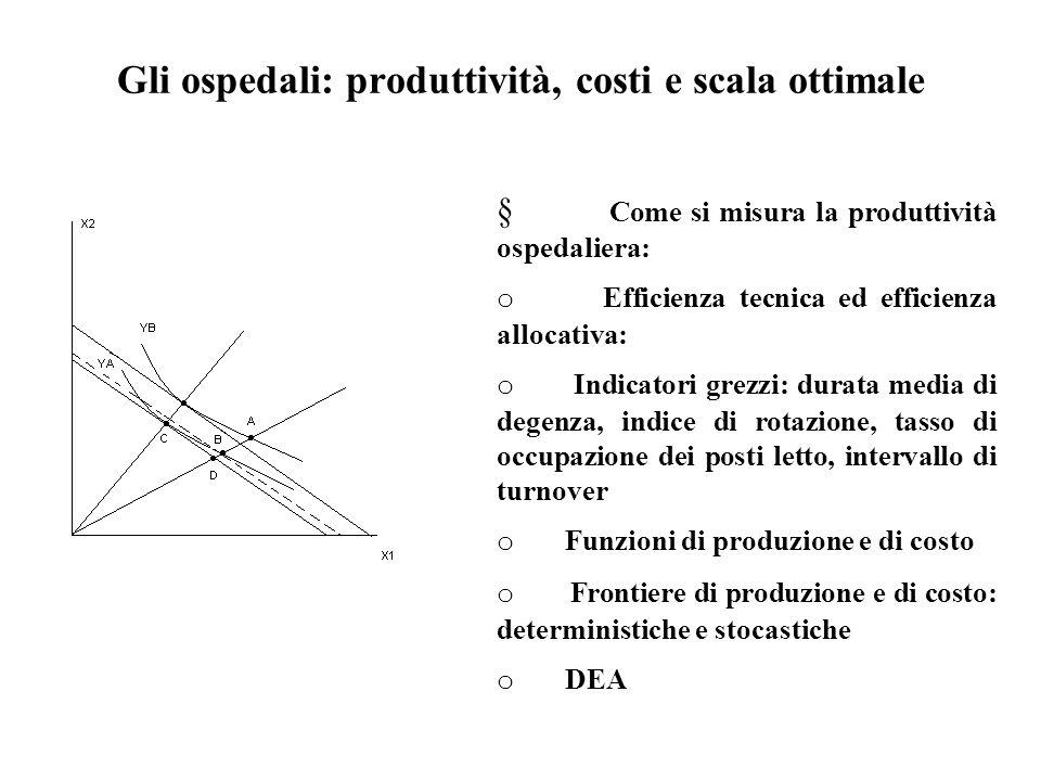 Gli ospedali: produttività, costi e scala ottimale