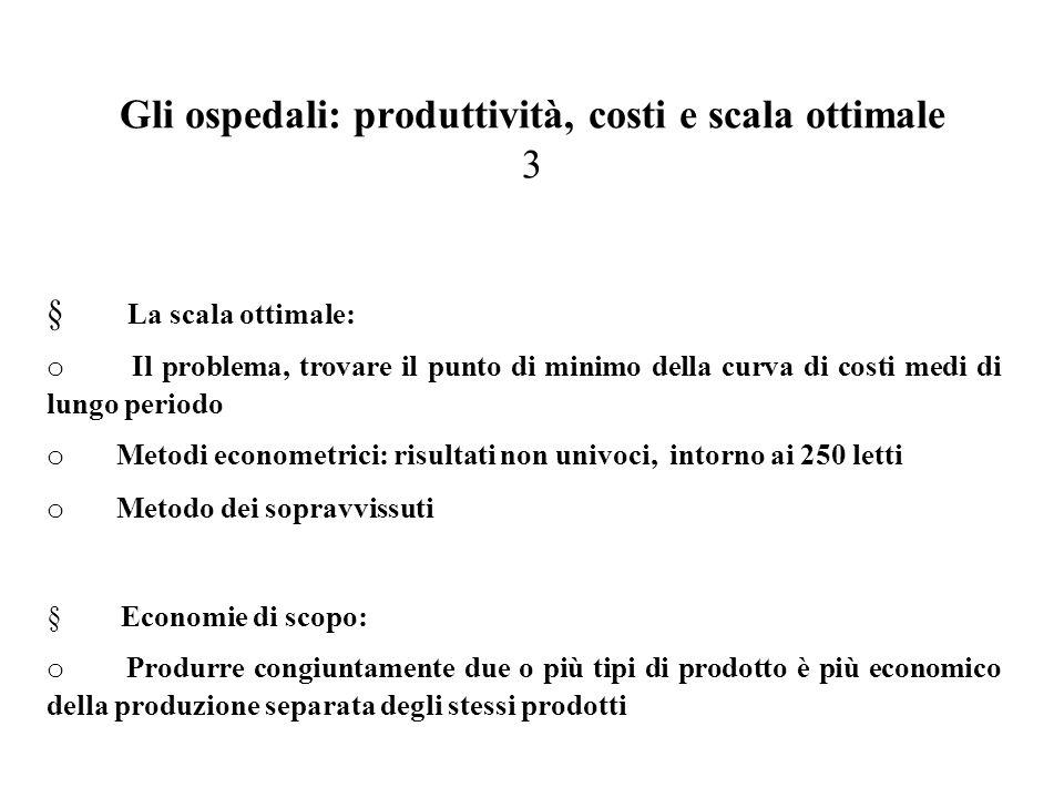 Gli ospedali: produttività, costi e scala ottimale 3