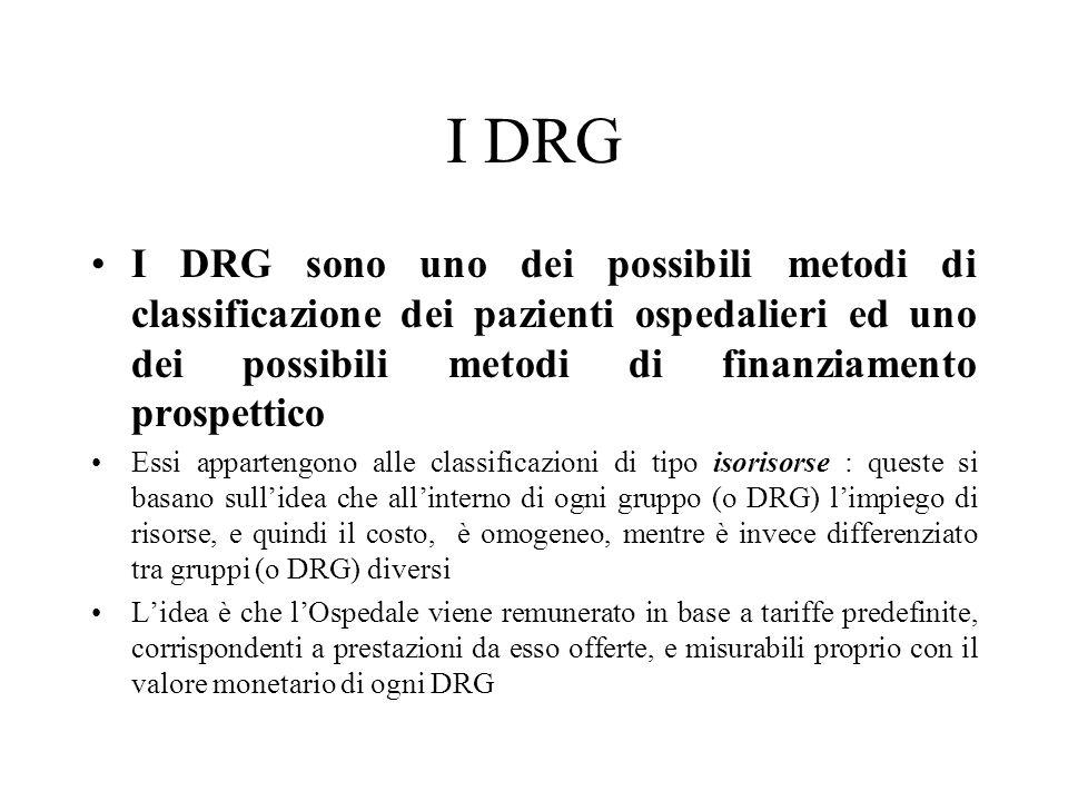I DRG I DRG sono uno dei possibili metodi di classificazione dei pazienti ospedalieri ed uno dei possibili metodi di finanziamento prospettico.