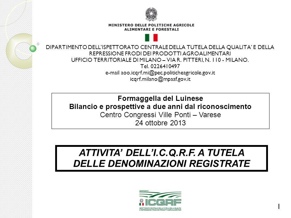 ATTIVITA' DELL'I.C.Q.R.F. A TUTELA DELLE DENOMINAZIONI REGISTRATE