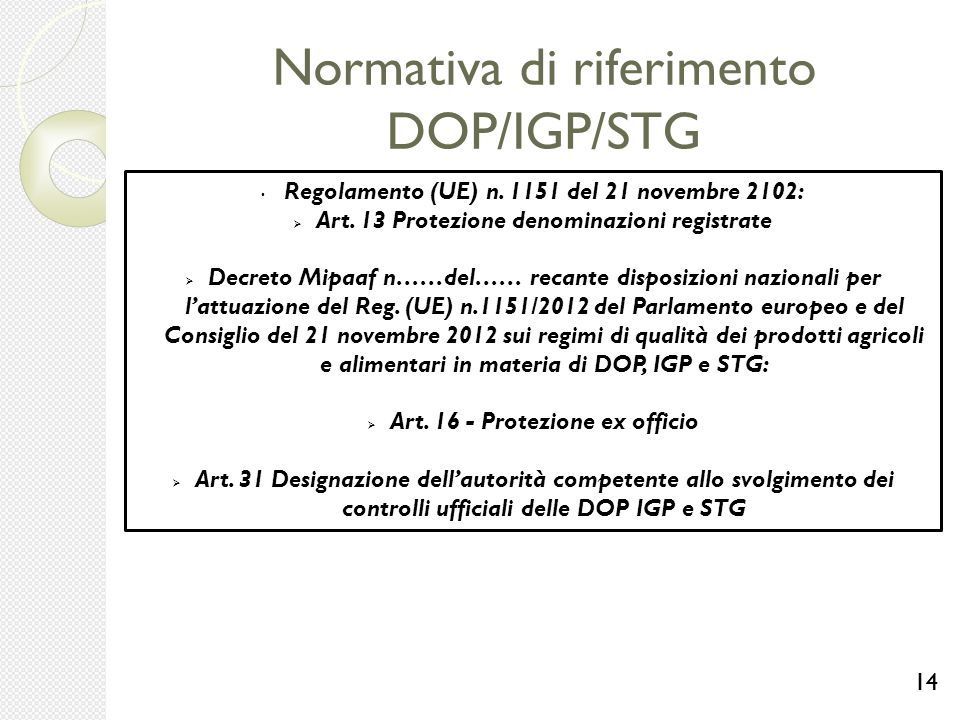 Normativa di riferimento DOP/IGP/STG