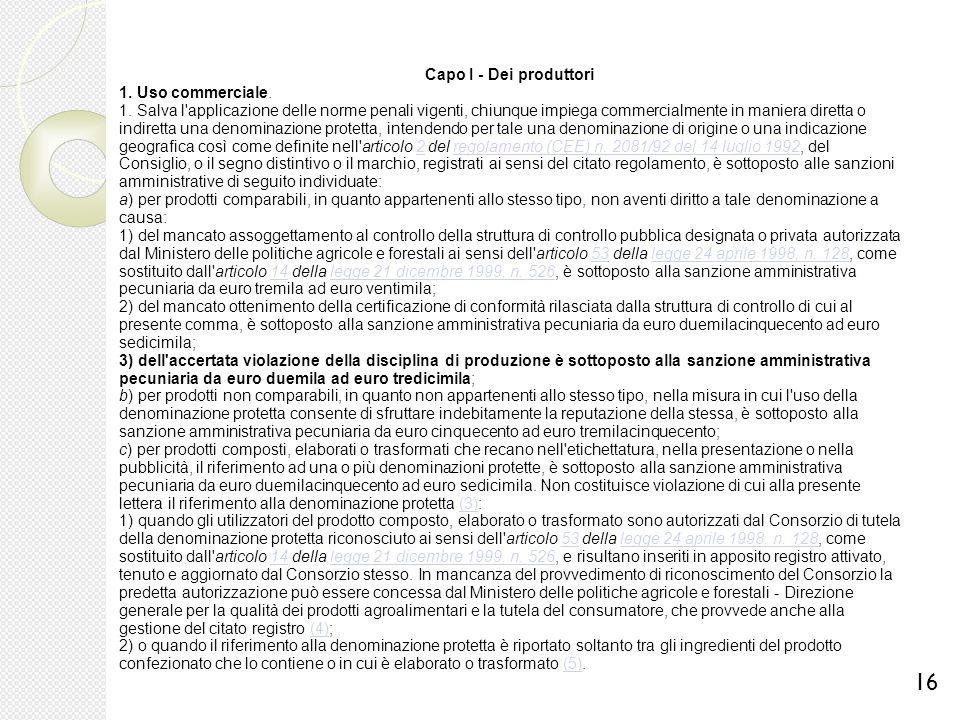 Capo I - Dei produttori 1. Uso commerciale.