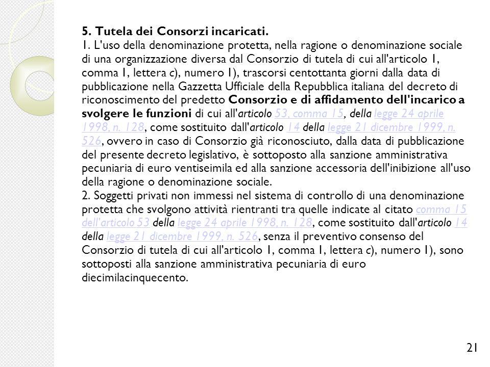 5. Tutela dei Consorzi incaricati. 1