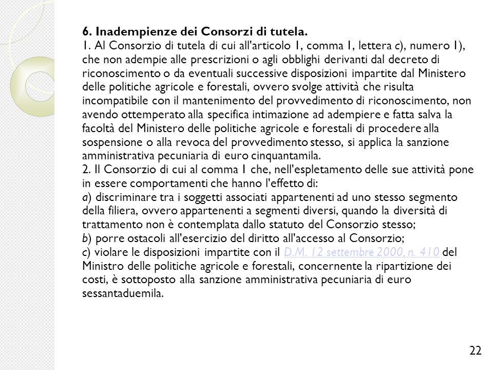 6. Inadempienze dei Consorzi di tutela. 1
