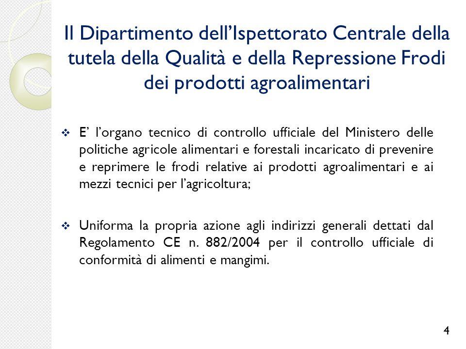 4 Il Dipartimento dell'Ispettorato Centrale della tutela della Qualità e della Repressione Frodi dei prodotti agroalimentari.
