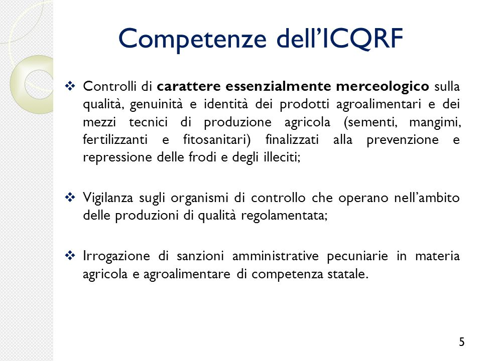 Competenze dell'ICQRF