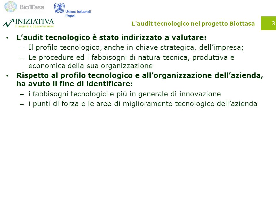 L audit tecnologico nel progetto Biottasa