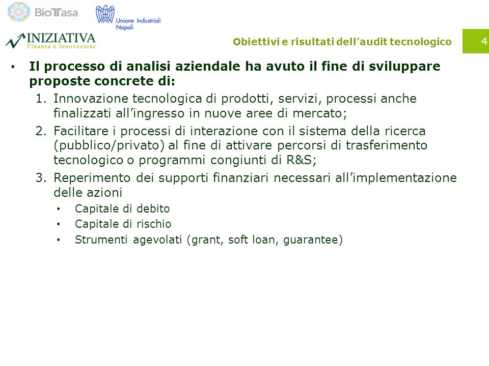 Obiettivi e risultati dell'audit tecnologico