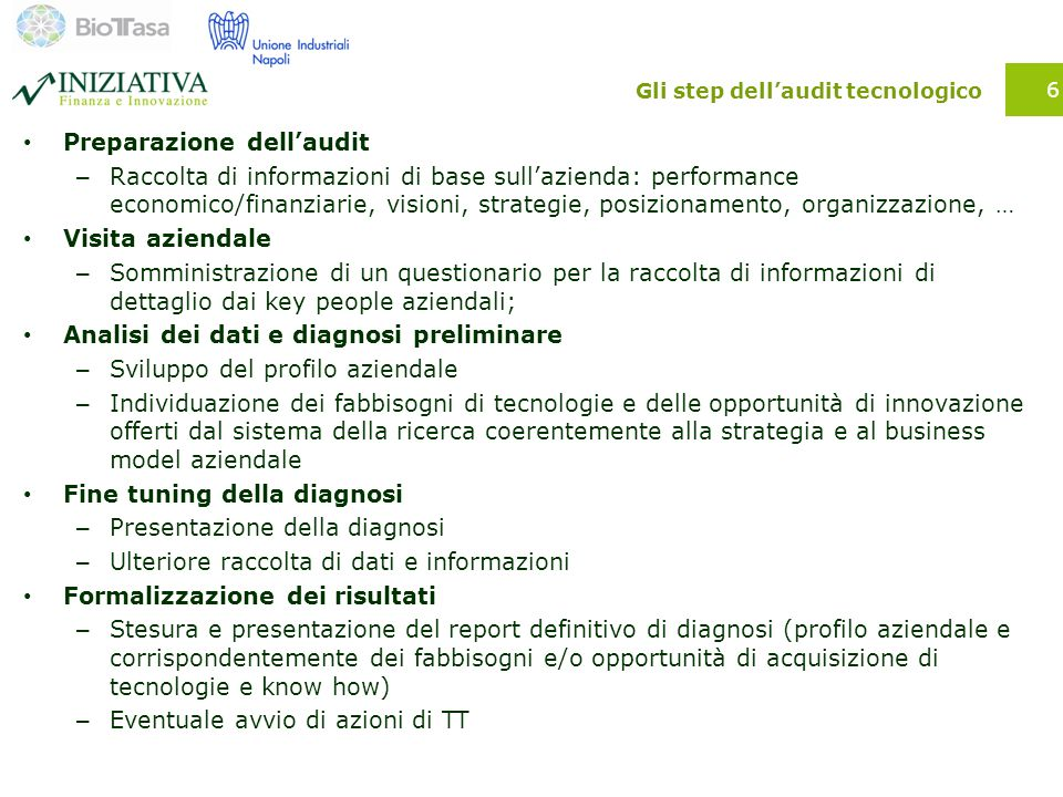 Gli step dell'audit tecnologico