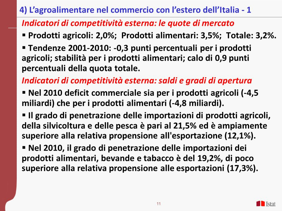 4) L'agroalimentare nel commercio con l'estero dell'Italia - 1