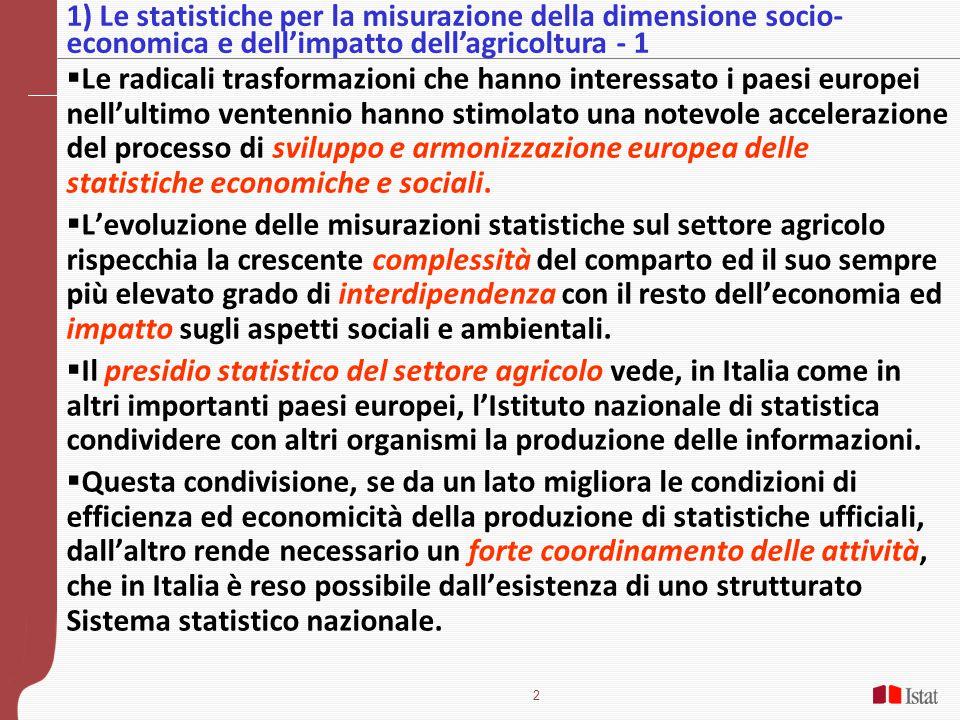 1) Le statistiche per la misurazione della dimensione socio-economica e dell'impatto dell'agricoltura - 1