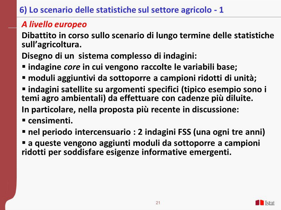 6) Lo scenario delle statistiche sul settore agricolo - 1