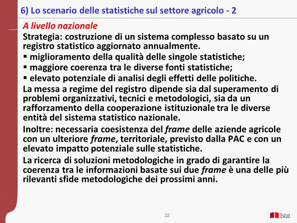6) Lo scenario delle statistiche sul settore agricolo - 2