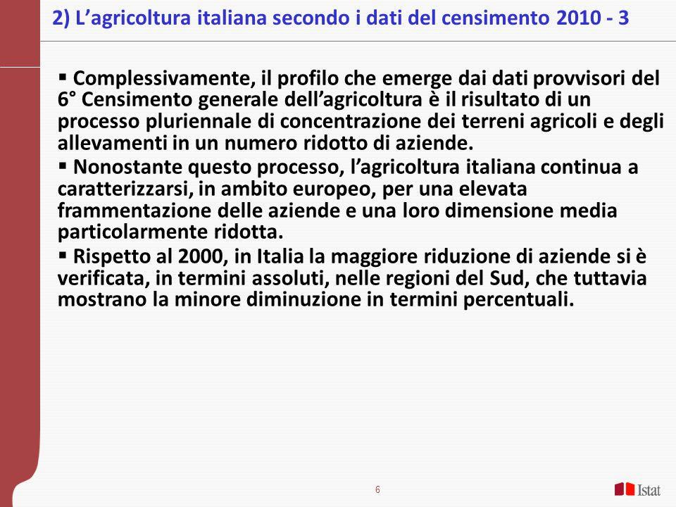 2) L'agricoltura italiana secondo i dati del censimento 2010 - 3