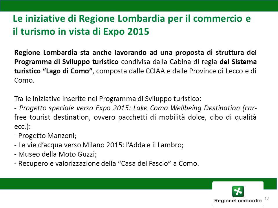 Le iniziative di Regione Lombardia per il commercio e il turismo in vista di Expo 2015