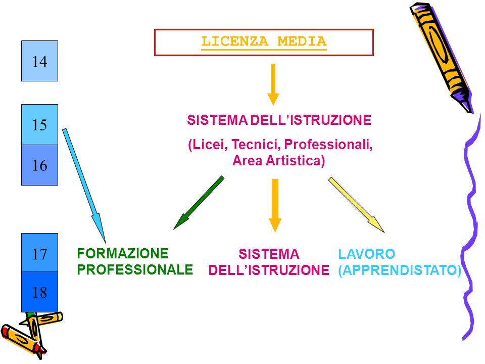 LICENZA MEDIA 14 15 16 17 18 SISTEMA DELL'ISTRUZIONE