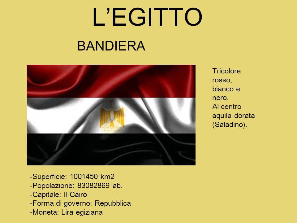 L'EGITTO BANDIERA Tricolore rosso, bianco e nero.