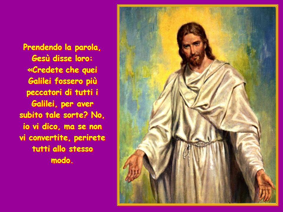 Prendendo la parola, Gesù disse loro: «Credete che quei Galilei fossero più peccatori di tutti i Galilei, per aver subito tale sorte No, io vi dico, ma se non vi convertite, perirete tutti allo stesso modo.