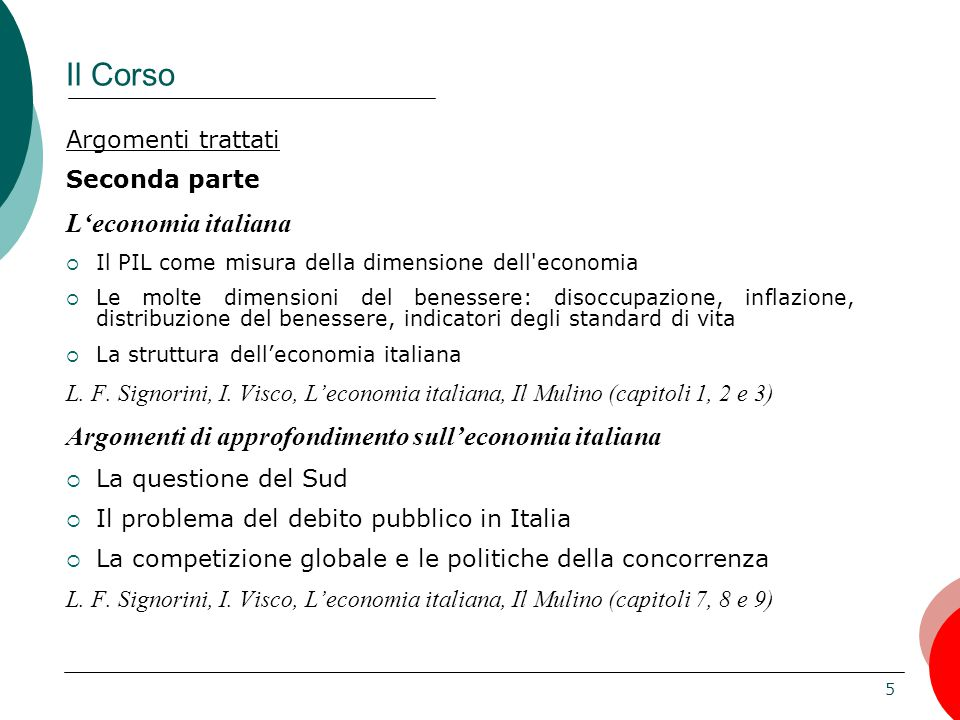 Il Corso L'economia italiana