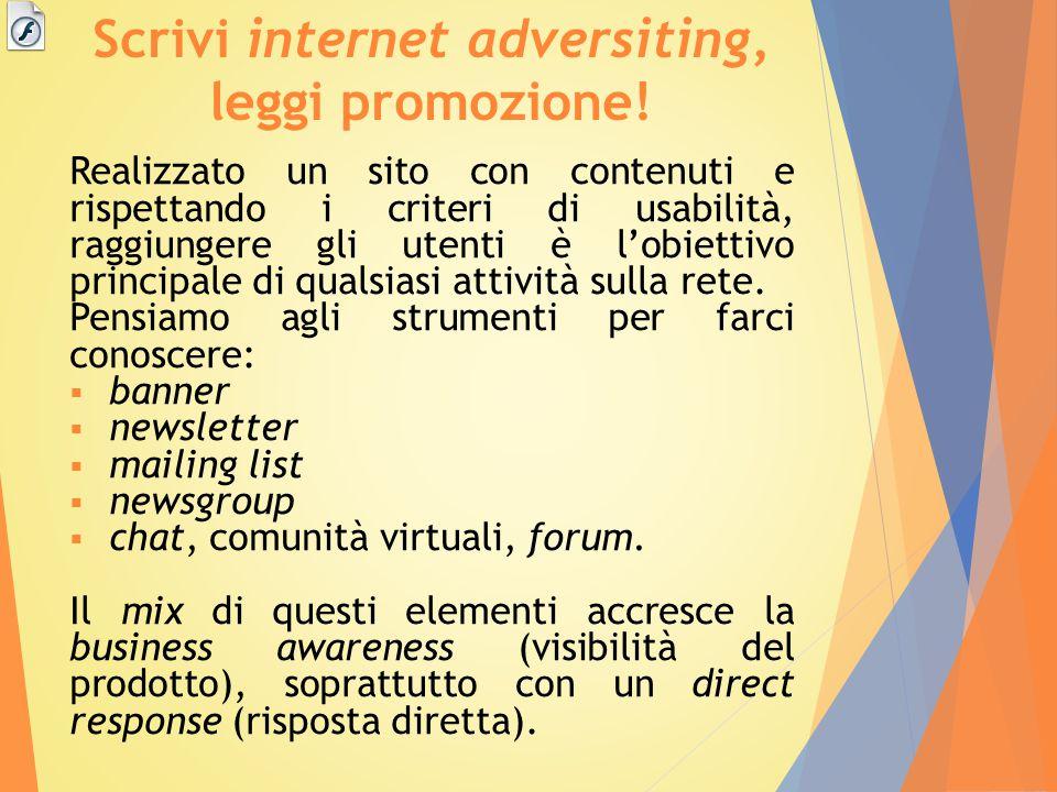 Scrivi internet adversiting, leggi promozione!