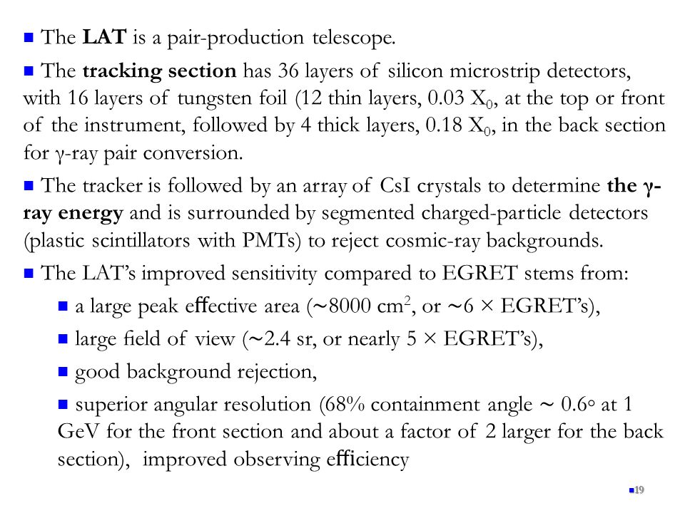 The LAT is a pair-production telescope.