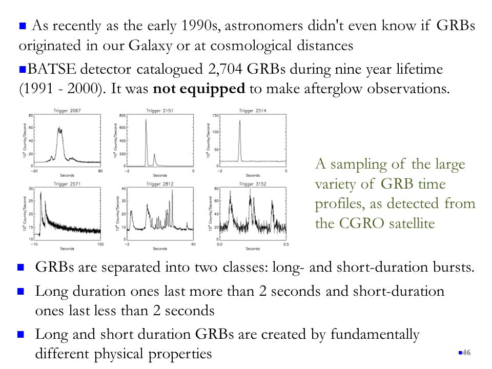 As recently as the early 1990s, astronomers didn t even know if GRBs originated in our Galaxy or at cosmological distances
