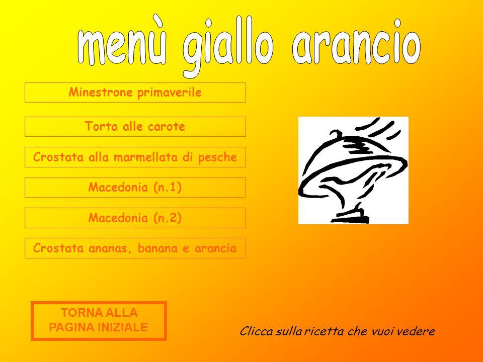 menù giallo arancio Minestrone primaverile Torta alle carote