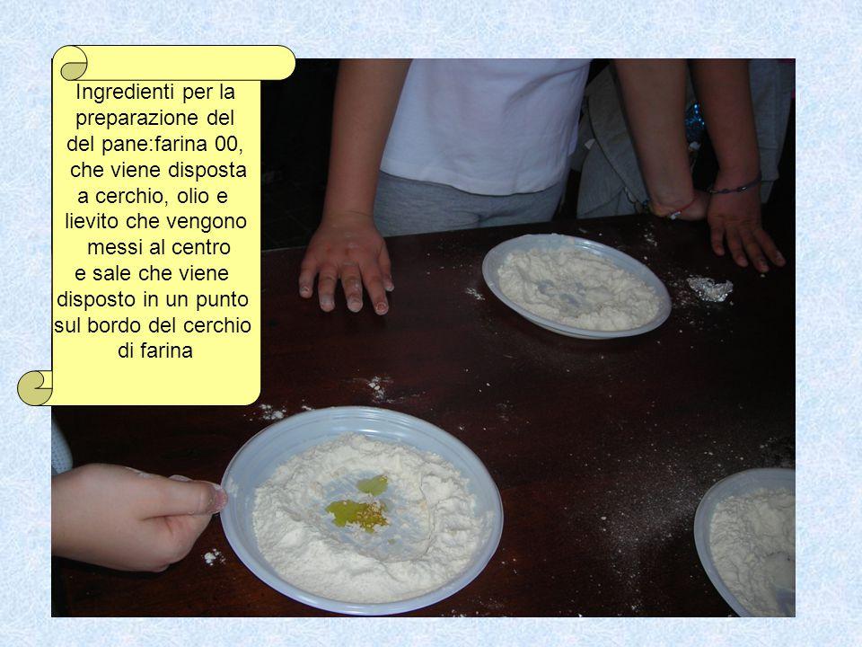 Ingredienti per la preparazione del. del pane:farina 00, che viene disposta. a cerchio, olio e. lievito che vengono.