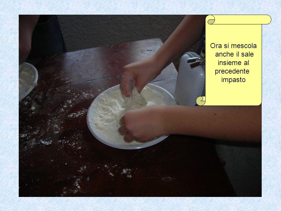 Ora si mescola anche il sale insieme al precedente impasto