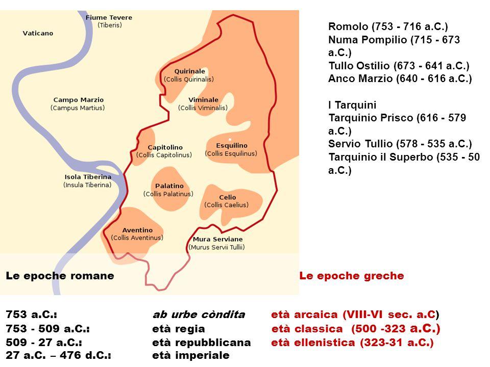 Tarquinio Prisco (616 - 579 a.C.) Servio Tullio (578 - 535 a.C.)