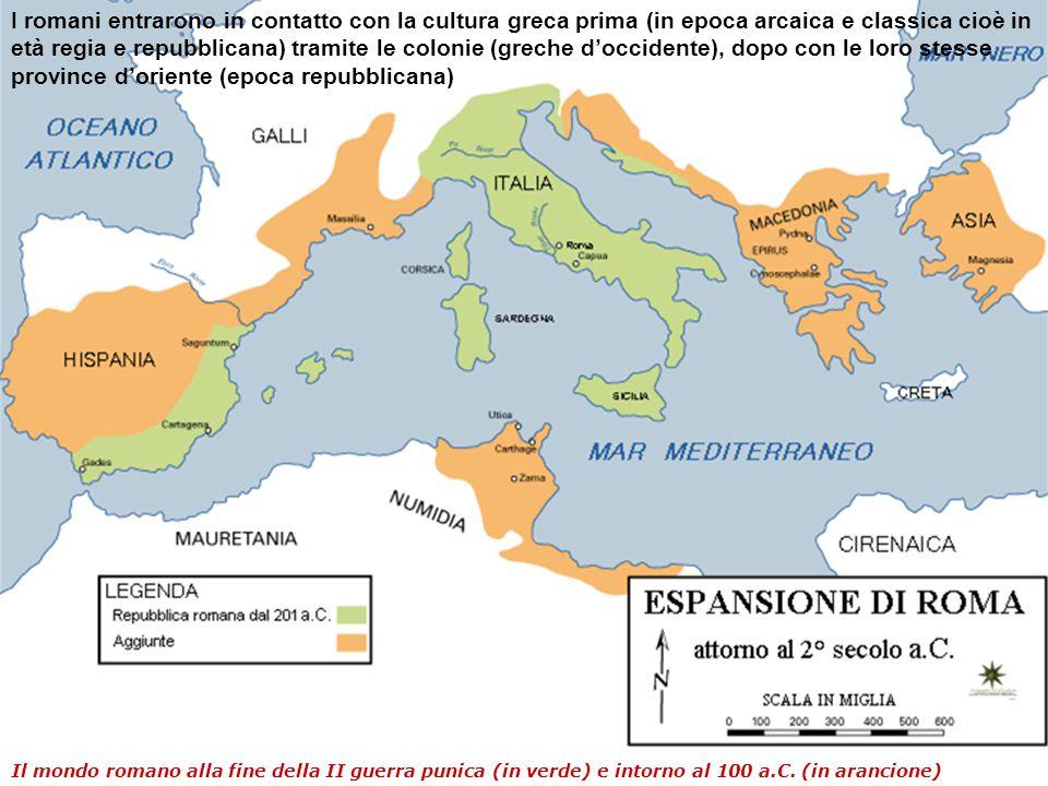 I romani entrarono in contatto con la cultura greca prima (in epoca arcaica e classica cioè in età regia e repubblicana) tramite le colonie (greche d'occidente), dopo con le loro stesse province d'oriente (epoca repubblicana)